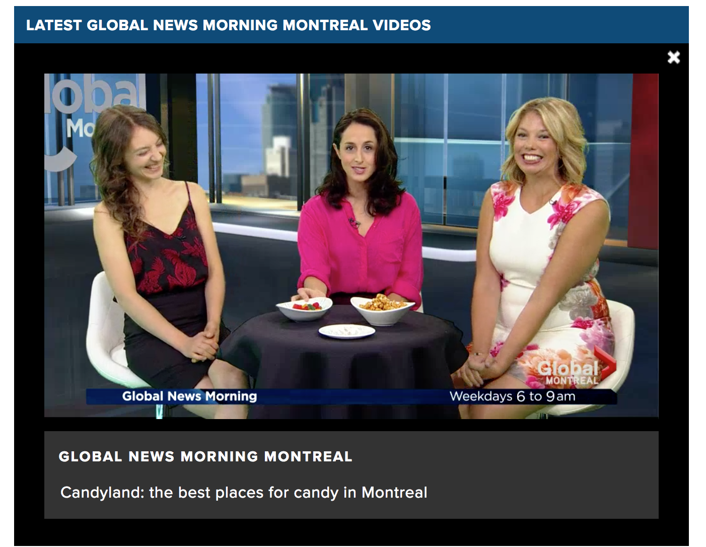 Global Montreal Foodie Friday segment with Amie Watson-Candyland in Montreal